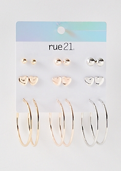 9-Pack Mixed Metal Hearts Earring Set