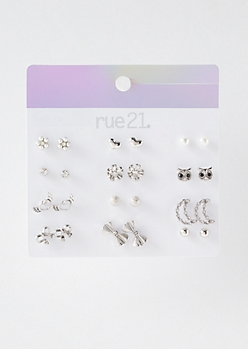 12-Pack Silver Owl Stud Earring Set