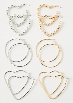 6-Pack Mixed Metal Chain Heart Hoop Earring Set