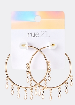 Gold Gem Pendant Hoop Earrings