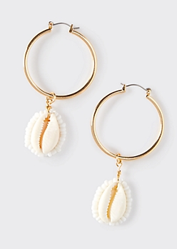 Gold Cowrie Shell Hoop Earrings