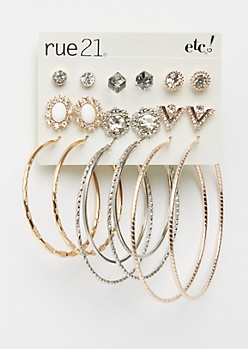 9-Pack Vintage Stone & Hoops Earring Set
