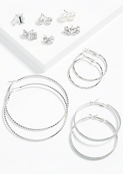 9-Pack Silver Gem Hoop and Stud Earring Set
