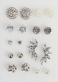9-Pack Fireball Medallion Stud Earring Set
