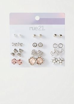 12-Pack Silver Pearl Flower Stud Earring Set