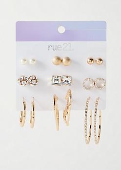9-Pack Gold Druzy Baby Girl Earring Set
