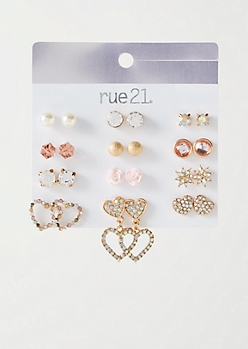 12-Pack Gold Stone Drop Heart Earring Set