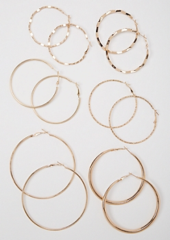 6-Pack Gold Skinny Hoop Earrings