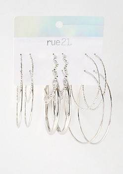 6-Pack Silver Zig Zag Gem Hoop Earring Set