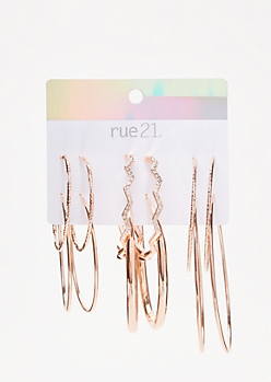 6-Pack Rose Gold Zig Zag Gem Hoop Earring Set
