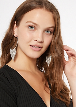 Silver Gemstone Dangle Fringe Hoops
