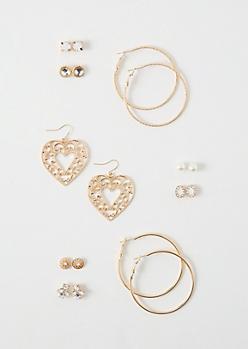 9-Pack Gold Filigree Heart Earring Set