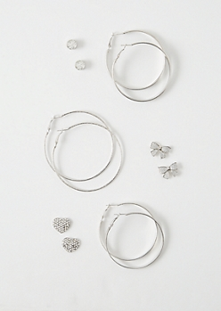 6-Pack Silver Glitter Bow Earring Set