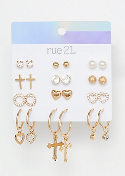 12-Pack Gold Cross Charm Earring Set