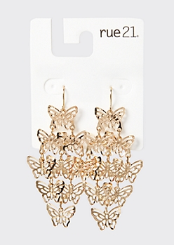 Gold Butterfly Kite Drop Earrings