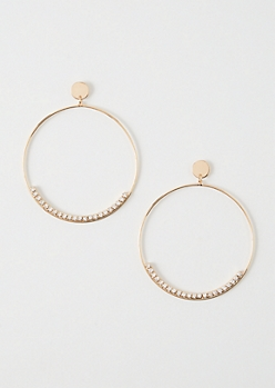 Gold Circle Drop Statement Hoop Earrings