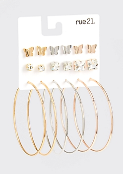 9-Pack Mixed Metal Butterfly Earring Set