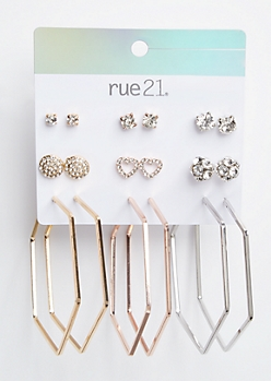 9-Pack Mixed Metal Octagon Earring Set