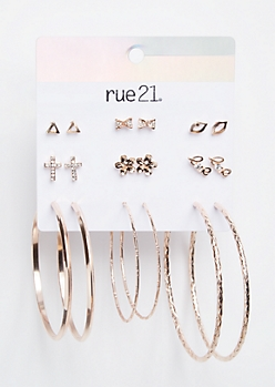 9-Pack Rose Gold Love Lip Earring Set