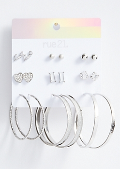 9-Pack Silver Glitter Love Earring Set