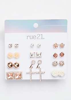 12-Pack Rose Gold Gemstone Cross Stud Earring Set