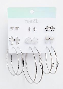 9-Pack Silver Opal Stone Earring Set