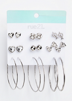 9-Pack Silver Heart and Arrow Earring Set