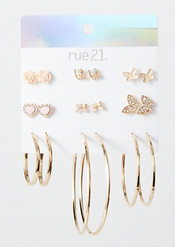 9-Pack Gold Butterfly Earring Set