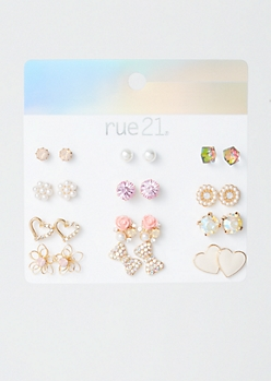 12-Pack Gold Pearl Heart Earring Set