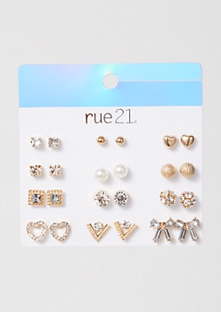 12-Pack Gold Bow Stud Earring Set