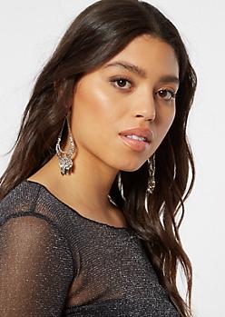 Silver Petal Dangle Earrings