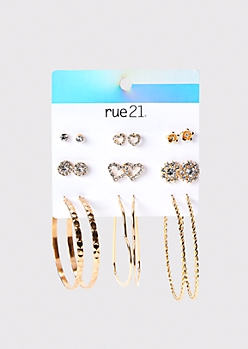 9-Pack Gold Hammered Stud And Hoop Earring Set