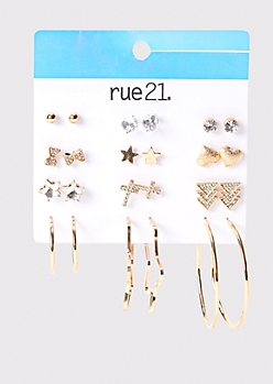 12-Pack Gold Star And Cross Stud And Hoop Earring Set