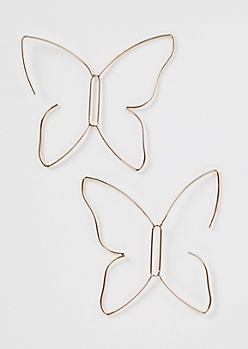 Gold Wire Butterfly Drop Earrings