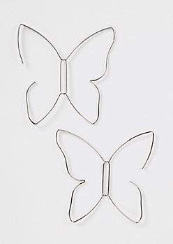 Silver Wire Butterfly Drop Earrings