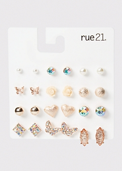 12-Pack Rose Gold Pearl Stud Earrings