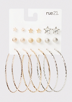 9-Pack Mixed Metal Star Earrings Set