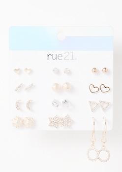 12-Pack Rose Gold Celestial Earring Set