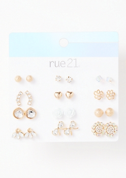 12-Pack Gold Floral Earring Set