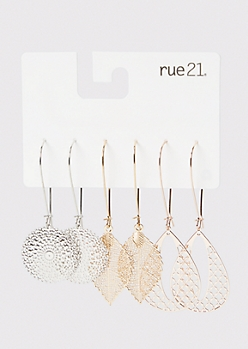 3-Pack Mixed Metal Filigree Drop Earrings