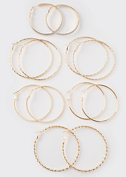 6-Piece Gold Braided Hoop Earring Set