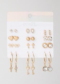 12-Pack Gold Key Cross Dangly Earring Set