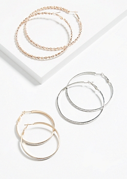 3-Pack Braided Mixed Metal Hoop Earring Set