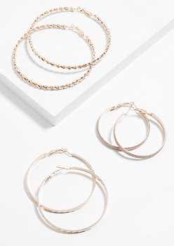 3-Pack Braided Rose Gold Hoop Earring Set
