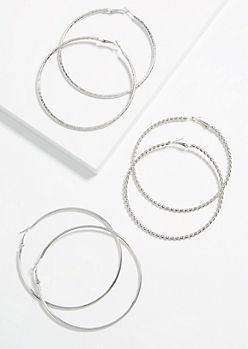 3-Pack Silver Braided Large Hoop Earring set