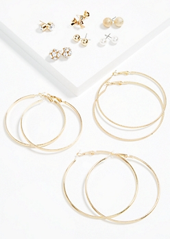 9-Pack Gold Gem Cluster Hoop and Stud Earring Set