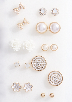 9-Pack Gold Pearl and White Rose Stud Earring Set