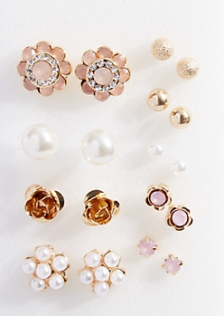 9-Pack Gold Flower and Pearl Stud Earring Set