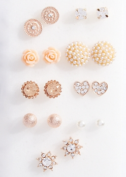9-Pack Rose Gold Glitter Pearl Stud Earring Set