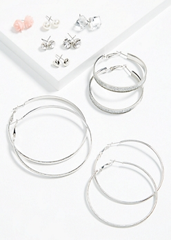 9-Pack Silver Glitter Rose Hoop and Stud Earring Set